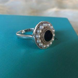 Tiffany & Co. Ziegfeld Pearl Onyx Ring 7.75